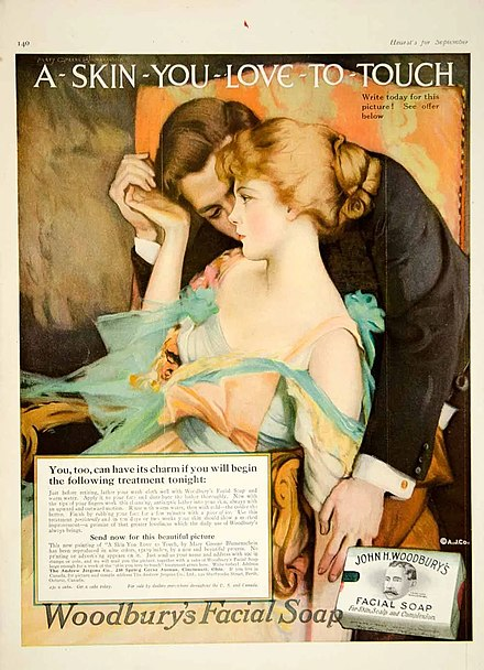 1916 Ladies' Home Journal version of the famous ad by Helen Lansdowne Resor of the J. Walter Thompson Agency 1916-skin-touch-soap-ad.jpg