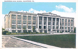 William Allen High School - The 1917 Allentown High School building.  This postcard was made from a photograph taken across the street from the front of the school on Webster Street. Note the grass empty lot on Seventeenth Street before row homes were built on it.