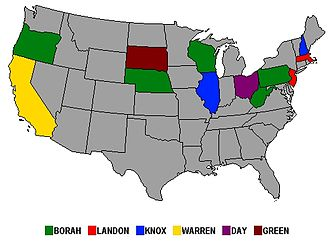 William Borah - Few states had presidential primaries in 1936. Those won by Borah are in green.