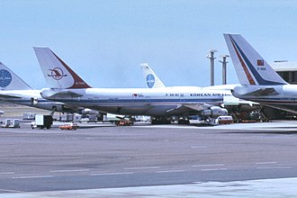 Korean Air Lines Flight 007 - HL7442, the aircraft that was shot down, 1981. The aircraft in front of it crashed as Centurion Air Cargo Flight 164 25 years later.