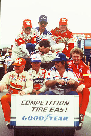 1985 NASCAR Winston Cup Series - Drivers Bobby Allison (upper left), Bobby Hillin (upper right), Cale Yarborough (lower left), Terry Labonte (2nd from lower left), and Bill Elliott (lower right) in at Pocono in 1985