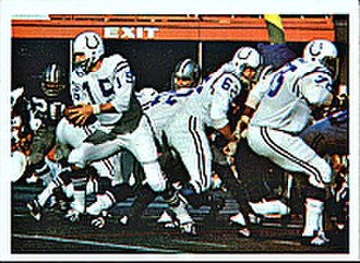 Super Bowl V - Colts' Earl Morrall (far left, with ball) running a play during Super Bowl V
