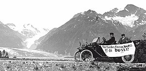 "Richardson Highway - The ""first car"" to travel from Valdez to Eagle, 1913"