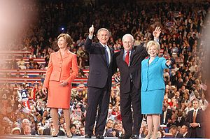 George W. Bush presidential campaign, 2004 - Laura and George Bush with Dick and Lynne Cheney during the convention