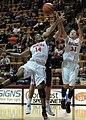 2013 Virginia Tech - Robert Morris - Monet Tellier and Uju Ugoka rebound.jpg