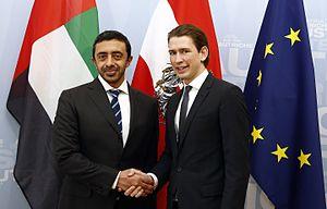 Abdullah bin Zayed Al Nahyan - Adbullah with Sebastian Kurz in 2014