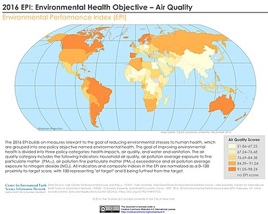 2016 air quality indicator - light colors have lower air quality and thus higher air pollution. 2016 EPI Environmental Health Objective - Air Quality (26170609658).jpg