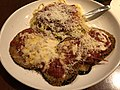 2019-04-13 20 26 51 A serving of eggplant parmesan and spaghetti at the Olive Garden in Fair Lakes, Fairfax County, Virginia.jpg