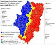 Representación de la situación de laRevolución social españolaenAragóndurante el verano-otoño de1936.