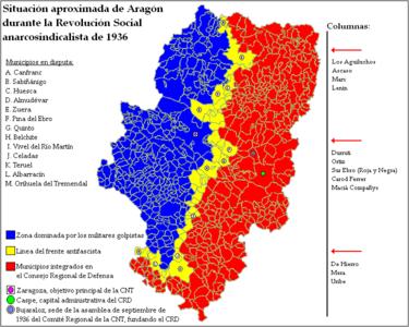 Mapa de la Toma de Aragón.