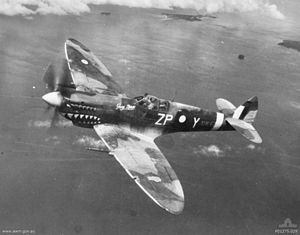 A single propeller monoplane in flight over a body of water. The aircraft is painted in a camouflage pattern and a shark's mouth behind the propeller on its nose.