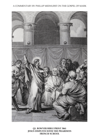 Rejection of Jesus - Jesus disputes with the Pharisees and is rejected, from the Bowyer Bible, 19th century.