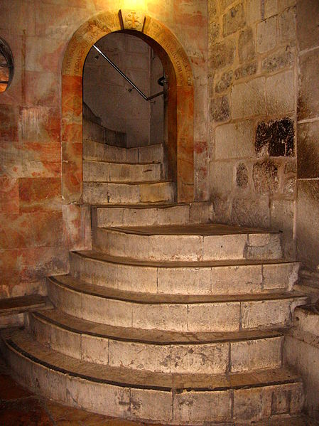 Treppenaufgang zur Golgatha-Kapelle- Sehenswürdigkeit in Jerusalem / Israel - vergrößerbar