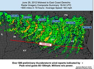 Derecho - Composite radar image of the June 2012 North American derecho (a progressive derecho) as it moved from Indiana to Virginia