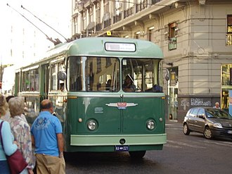 Trolleybuses in Naples - Restored 1961 Alfa Romeo trolleybus 8021 on a special excursion in 2009