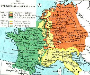 Lotharingia is the part of Middle Francia (yellow), as established by the Treaty of Verdun, 843, and reduced by the Treaty of Mersen, 870