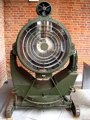 20th Battalion, London Regiment (Blackheath and Woolwich) - 90 cm Projector Anti-Aircraft, displayed at Fort Nelson, Portsmouth