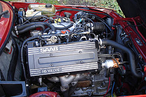 Saab H engine - 1991 Saab B212 engine. It is longitudinally mounted in a SAAB 900.