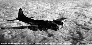 RAF Horham - Boeing B-17G-70-BO Fortress Serial 43-37684 of the 95th Bomb Group on a mission over Germany, January 1944.