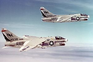 Second VA-215 (U.S. Navy) - VA-215 A-7B Corsair IIs over Vietnam, 1971. Note that the guns of both aircraft have been fired