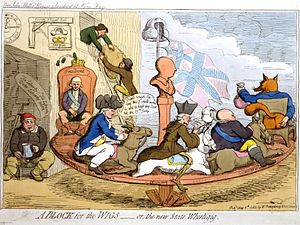 Fox–North coalition - In A Block for the Wigs (1783), James Gillray caricatured the Fox–North coalition. Fox is pictured right; followed by North; and then by Edmund Burke, with a skeleton leg. George III is the blockhead in the centre.
