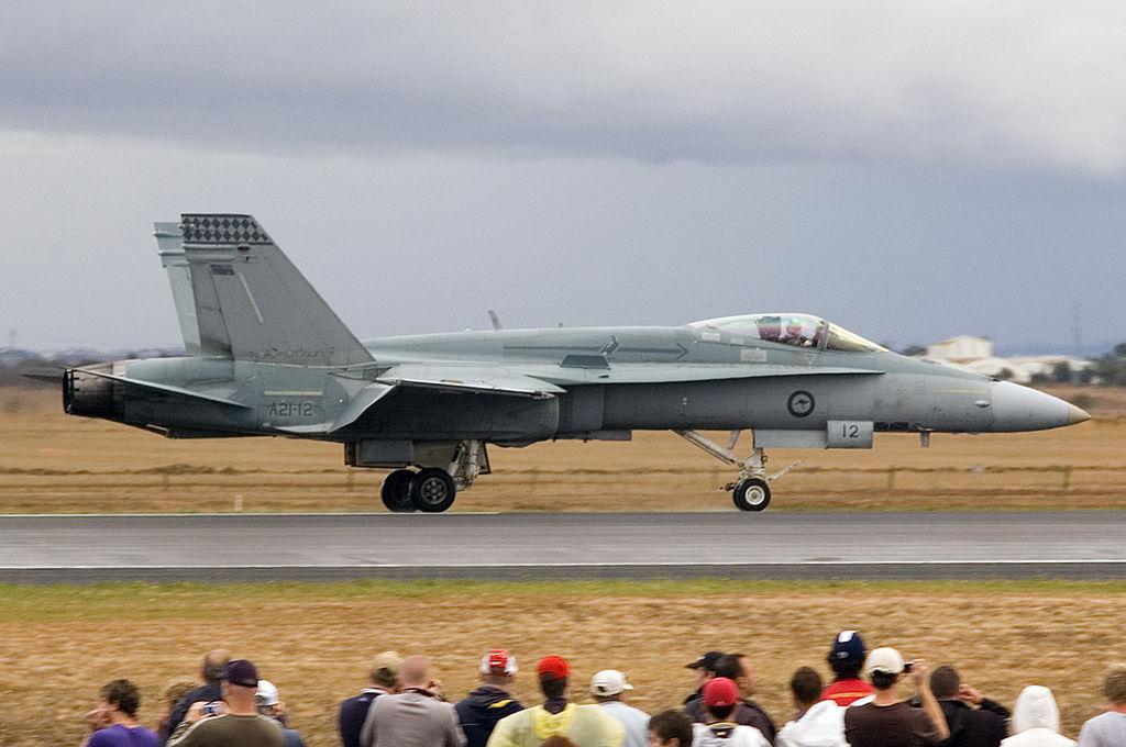 A21-12 McDonnell Douglas F-A-18A Hornet RAAF Purple Cobras Hornet Formation Aerobatic Team (8330025900).jpg