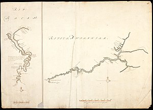 Indragiri River - Map of the Rokan and Indragiri (right) rivers by Isaak de Graaf, circa 1690-1743.