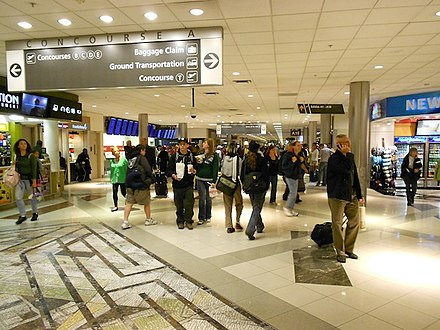 Concourse A at Hartsfield-Jackson Atlanta International Airport, the world's busiest airport ATL Concourse A.jpg