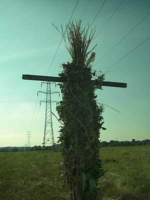 Wicker man - A lifesize modern pagan wicker man, in south east London, England