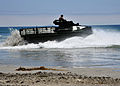 A U.S. Marine Corps assault amphibious vehicle enters the water during a maritime prepositioning force training scenario June 13, 2013, in Coronado, Calif., as part of exercise Dawn Blitz 2013 130613-N-OP638-173.jpg