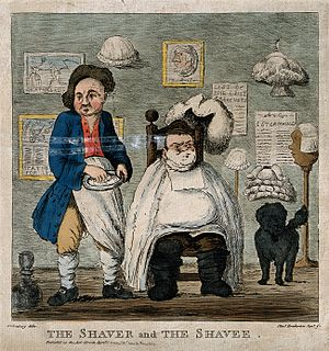 "Shaving cream - ""A barber getting ready to shave the face of a seated customer"", c. 1801."