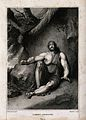A fettered Samson sits blind and distraught in a gloomy clea Wellcome V0034296.jpg