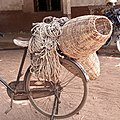 A fornix bicycle with local ropes made from fibre and fowl nest for nursing chicks.jpg