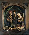 A physician examining a urine flask. Oil painting after G. D Wellcome V0017255.jpg