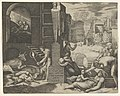A plague scene at right, a man at left holding a torch illuminating part of the scene at left, ill people at the right MET DP854410.jpg