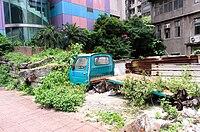 Abandoned Sanfu Sambar Truck on Ground beside Section 4, Bade Road 20150620.jpg