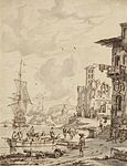 Abraham Storck - Ships at the entrance of a port, the dome of a church in the background.jpg