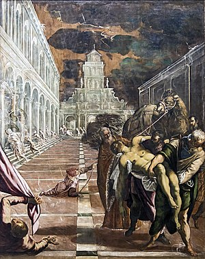 1548 in art - Image: Accademia St Mark's Body Brought to Venice by Jacopo Tintoretto