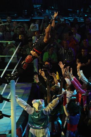 Adam Rose - Rose (top) being caught by the Rosebuds during his ring entrance in May 2014