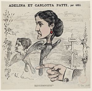 Adelina Patti - Patti caricatured by the French artist André Gill.