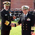 Admiral DK Joshi with Admiral Katsutoshi Kawano at South Block, New Delhi.JPG