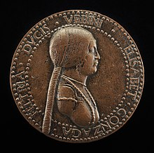 Bronze medal, 6 centimeters across, of profile portrait, proper left, of Elisabetta Gonzaga, from the Widener Collection of the National Gallery of Art in Washington, DC.