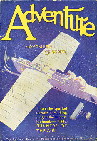 "Charles G. D. Roberts - Roberts's ""Runners of the Air"" was the cover story for the November 1911 issue of Adventure"