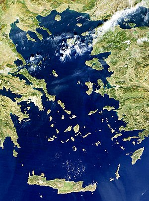 Aegean Islands - Satellite view of the Aegean Sea and Islands