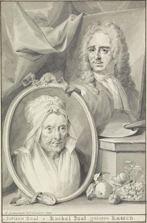 Juriaen Pool - Juriaan and his wife Rachel Pool, engraving from Jan van Gool's Nieuwe Schouburg, 1750