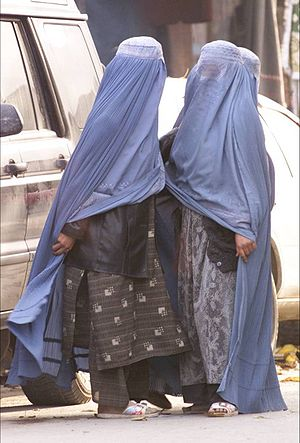 Women wearing burqas in the street