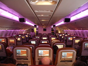Air India Boeing 777 economy class violet mood lighting.JPG