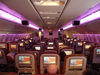 Mood lighting - Mood lighting on an airplane