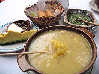 Chicken soup - Ajiaco of Bogotá - Colombia