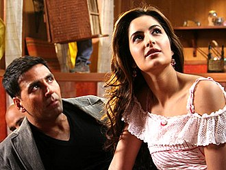 Akshay Kumar - Kumar with Katrina Kaif on the sets of Welcome (2007); the duo received appreciation for their pairing and appeared in several successful films together